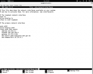 Network Interface file back up.